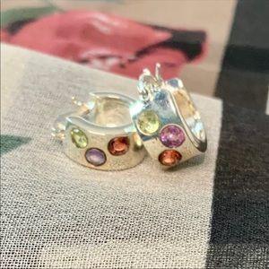 Sterling and Gemstone Mini-Hoop Earrings
